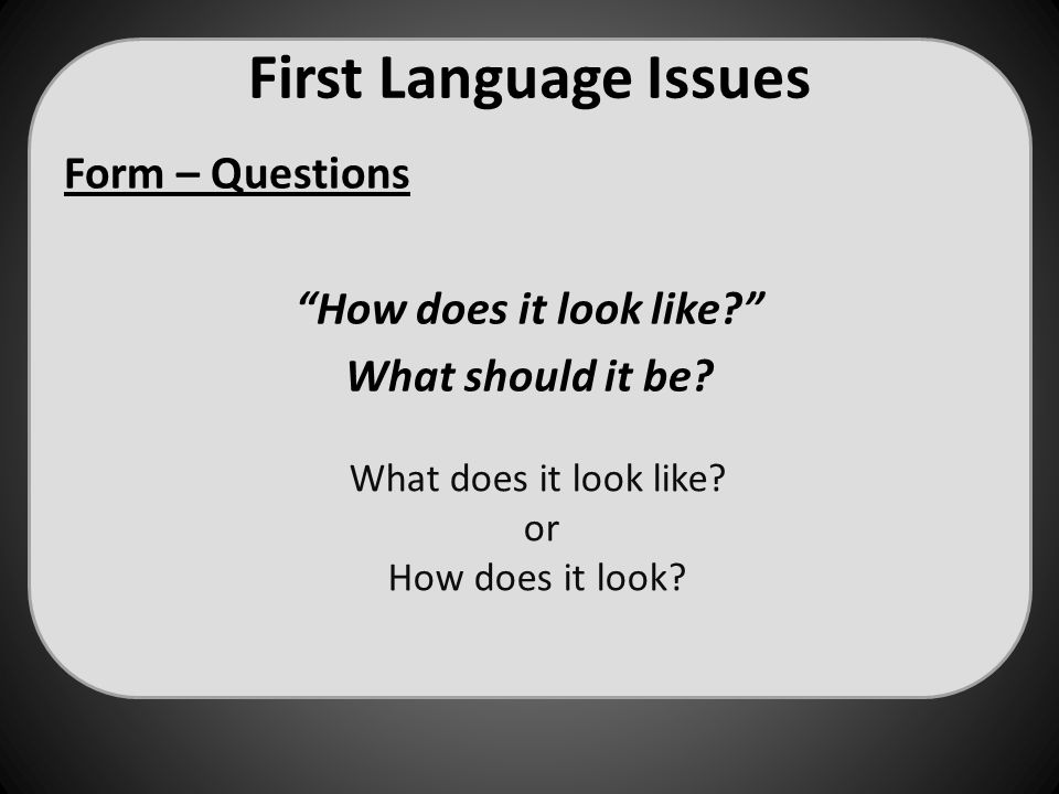 "First Language Issues Form – Questions ""How does it look like?"" What should it be? What does it look like? or How does it look?"