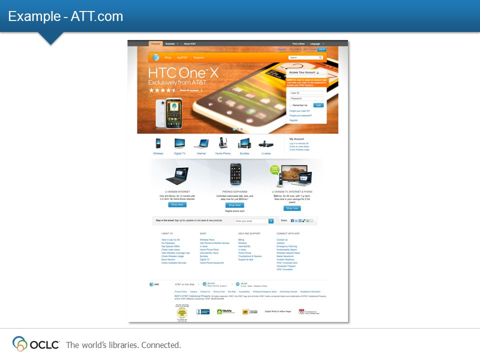 The world's libraries. Connected. Example - ATT.com