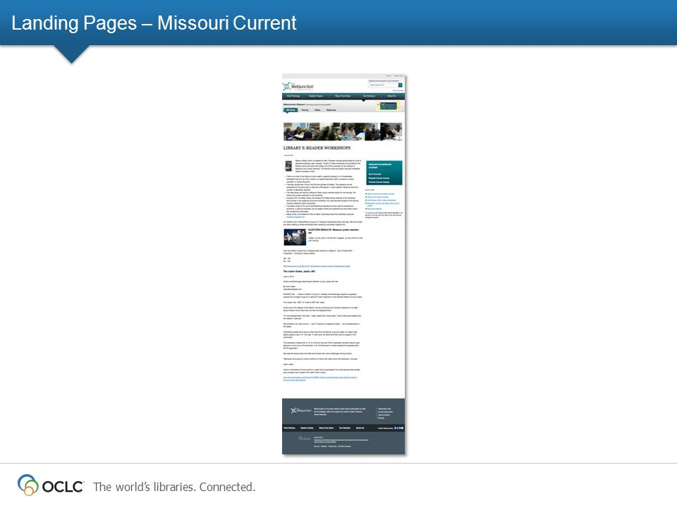 The world's libraries. Connected. Landing Pages – Missouri Current