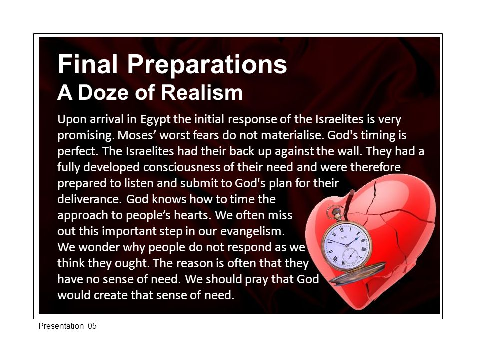 Final Preparations A Doze of Realism Upon arrival in Egypt the initial response of the Israelites is very promising.