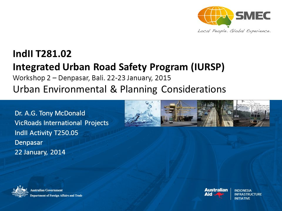 INDONESIA INFRASTRUCTURE INITIATIVE IndII T281.02 Integrated Urban Road Safety Program (IURSP) Workshop 2 – Denpasar, Bali. 22-23 January, 2015 Urban