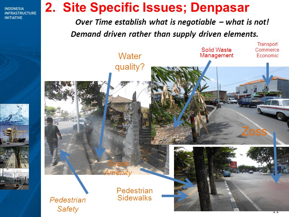 11 2. Site Specific Issues; Denpasar Over Time establish what is negotiable – what is not! Pedestrian Sidewalks Shade Amenity Water quality? Transport
