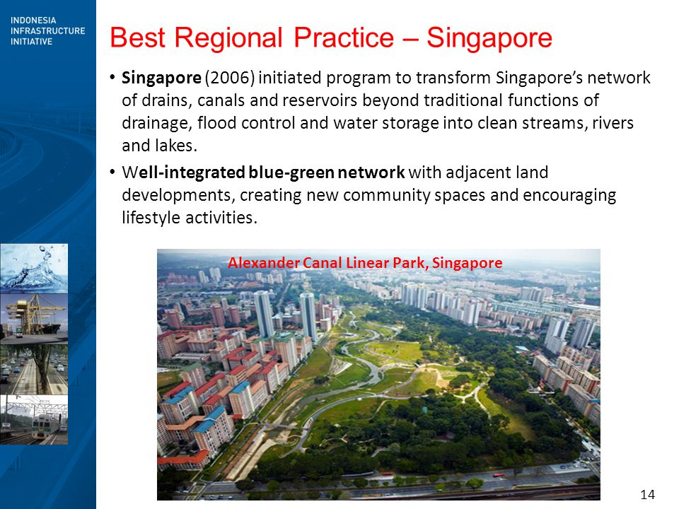 14 Best Regional Practice – Singapore Singapore (2006) initiated program to transform Singapore's network of drains, canals and reservoirs beyond trad