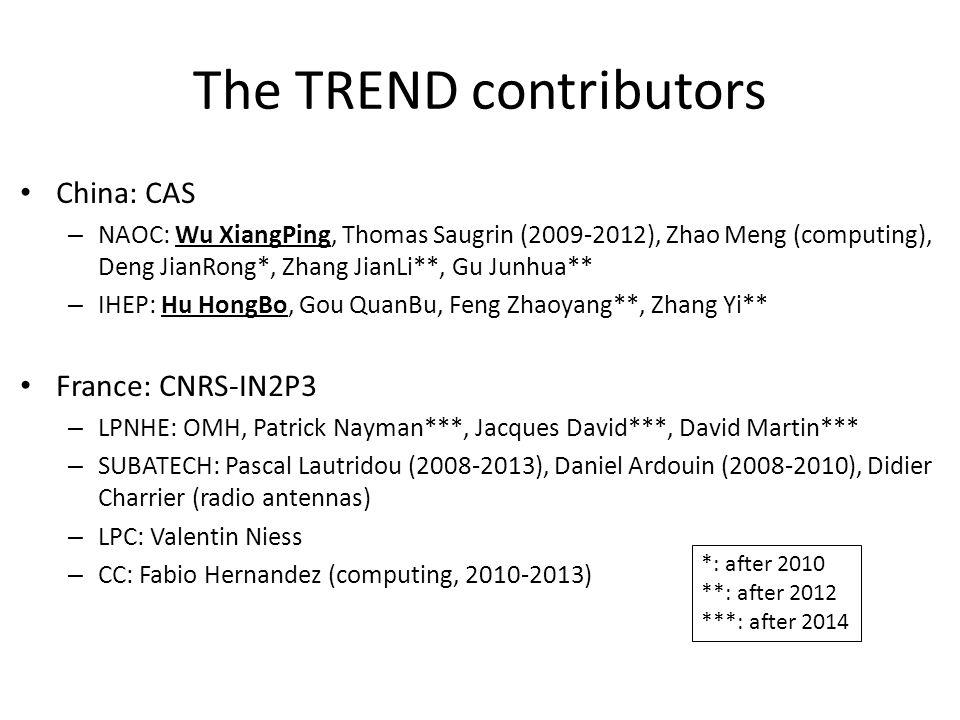 The TREND contributors China: CAS – NAOC: Wu XiangPing, Thomas Saugrin (2009-2012), Zhao Meng (computing), Deng JianRong*, Zhang JianLi**, Gu Junhua** – IHEP: Hu HongBo, Gou QuanBu, Feng Zhaoyang**, Zhang Yi** France: CNRS-IN2P3 – LPNHE: OMH, Patrick Nayman***, Jacques David***, David Martin*** – SUBATECH: Pascal Lautridou (2008-2013), Daniel Ardouin (2008-2010), Didier Charrier (radio antennas) – LPC: Valentin Niess – CC: Fabio Hernandez (computing, 2010-2013) *: after 2010 **: after 2012 ***: after 2014