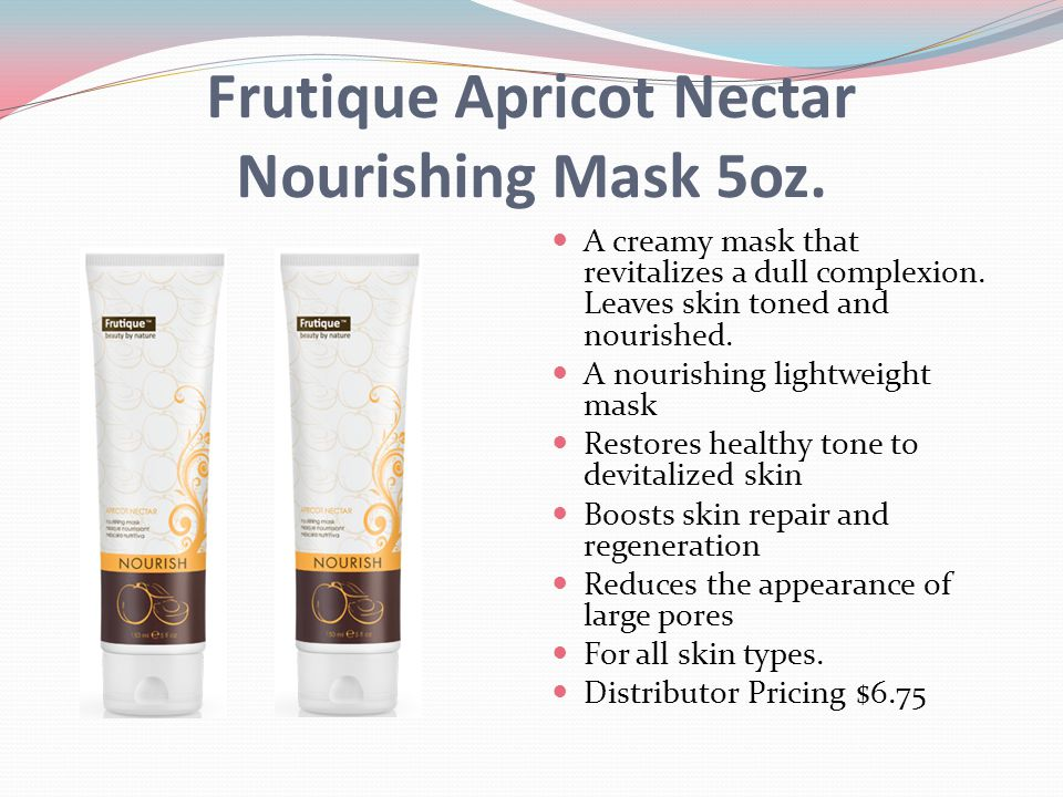 Frutique Apricot Nectar Nourishing Mask 5oz. A creamy mask that revitalizes a dull complexion. Leaves skin toned and nourished. A nourishing lightweig