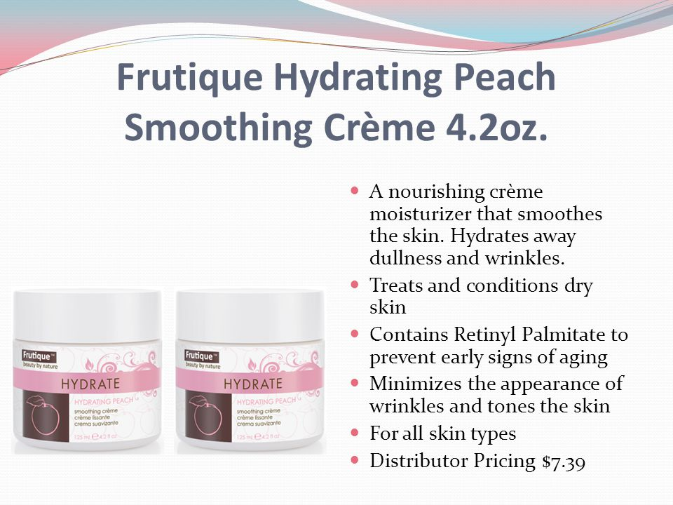Frutique Hydrating Peach Smoothing Crème 4.2oz. A nourishing crème moisturizer that smoothes the skin. Hydrates away dullness and wrinkles. Treats and