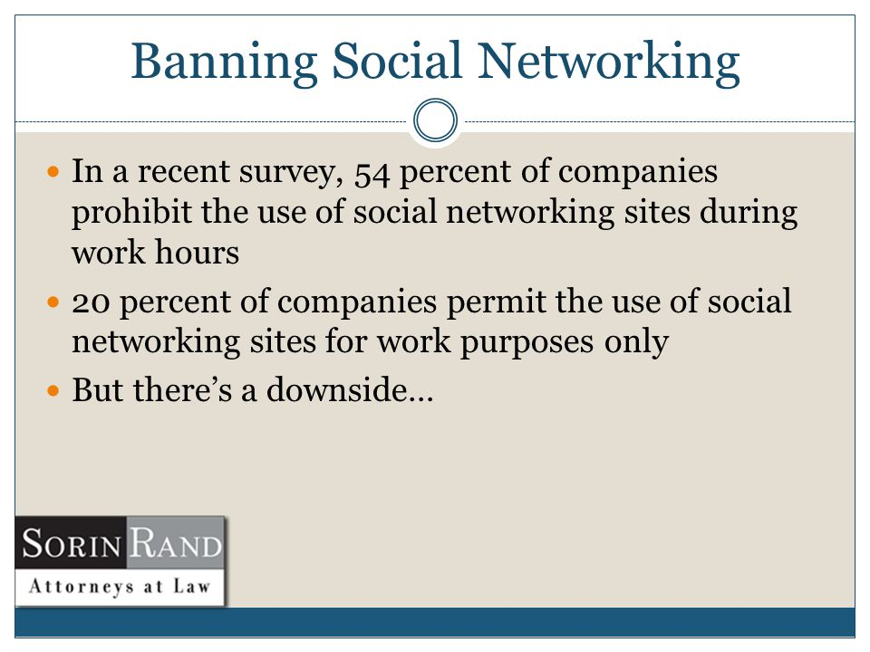 Banning Social Networking In a recent survey, 54 percent of companies prohibit the use of social networking sites during work hours 20 percent of companies permit the use of social networking sites for work purposes only But there's a downside…