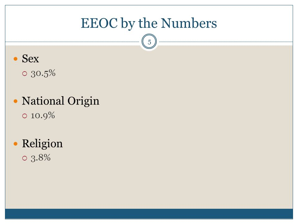 EEOC by the Numbers 6 Color  2.7% Age  23% Disability  26.5%  5 years ago, it was only 20.4% of EEOC claims Equal Pay  1.1%