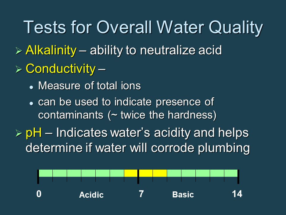Tests for Overall Water Quality  Alkalinity – ability to neutralize acid  Conductivity – Measure of total ions Measure of total ions can be used to