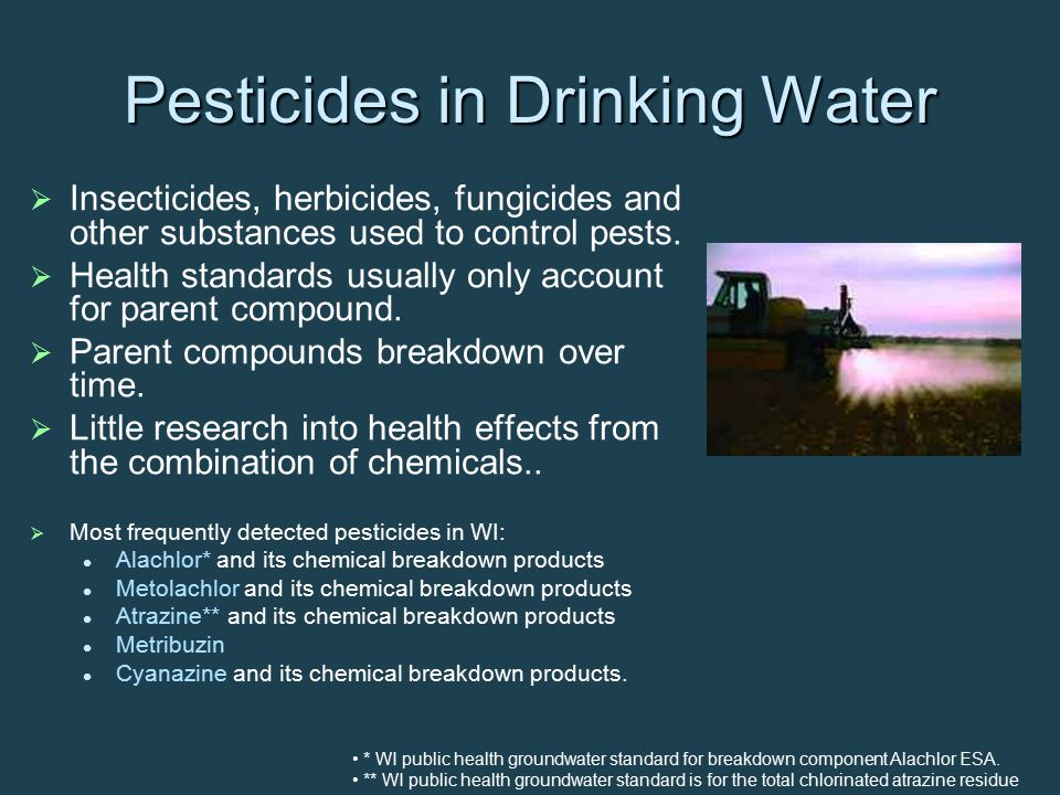   Sources: Triazine pesticides (mainly atrazine used on corn crops)   Screen: Only measures the diaminochlorotriazine (DACT) residue levels of triazine type pesticides (atrazine, simazine, propazine, cyanazine, etc)   Specific to diaminochlorotriazine (DACT), does not account for parent compound or other breakdown components   Drinking water limit: 3 ppb of total atrazine (atrazine + the 3 breakdown components) Tests Important to Health DACT Screen
