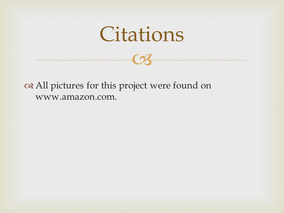   All pictures for this project were found on www.amazon.com. Citations