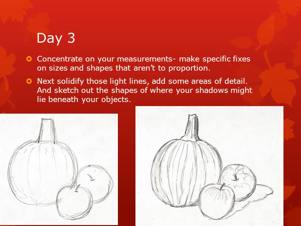 Day 3  Concentrate on your measurements- make specific fixes on sizes and shapes that aren't to proportion.