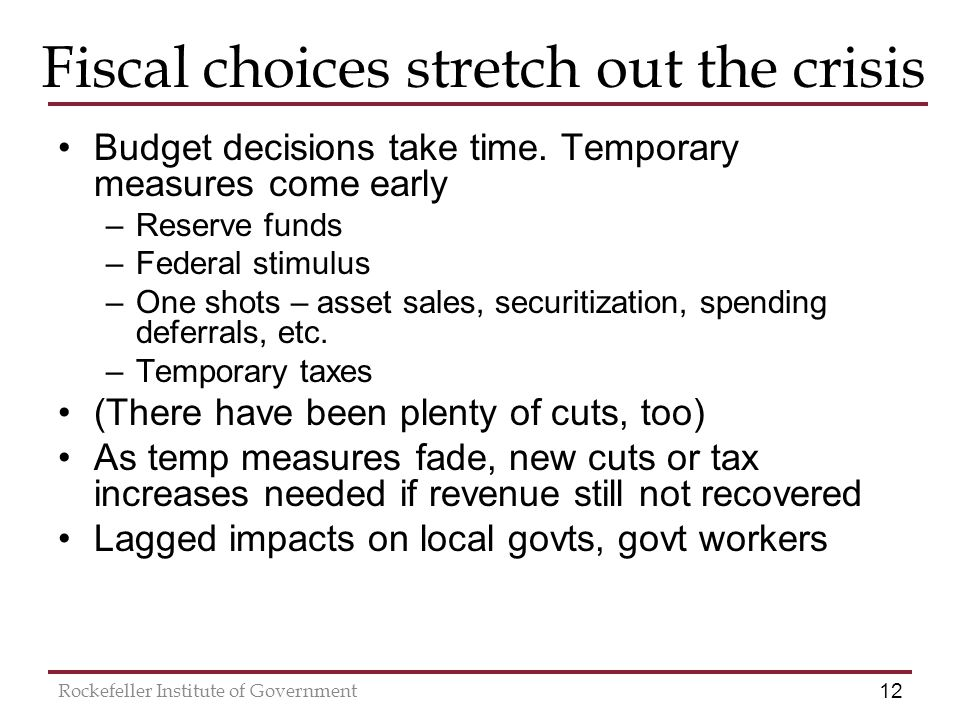 12 Rockefeller Institute of Government Fiscal choices stretch out the crisis Budget decisions take time.
