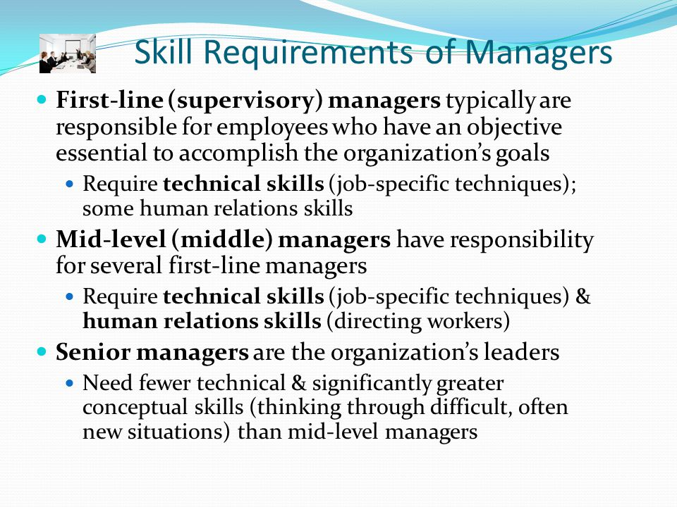 Primary Skills Conceptual Human Resources Technical Secondary Skills AnalyticalTechnical Human Resources Planning Decision- Making OrganizingDirecting Controll- ing 1 st -Level  Mid-Level    Senior Level    Figure 1-3 Manager Skills Sets (by primary and secondary skills required)
