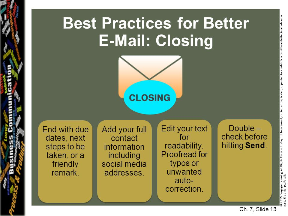 Best Practices for Better E-Mail: Closing Ch.
