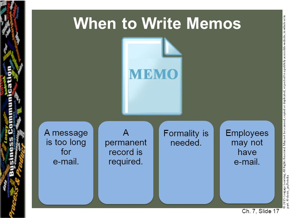 When to Write Memos Ch.7, Slide 17 © 2015 Cengage Learning.