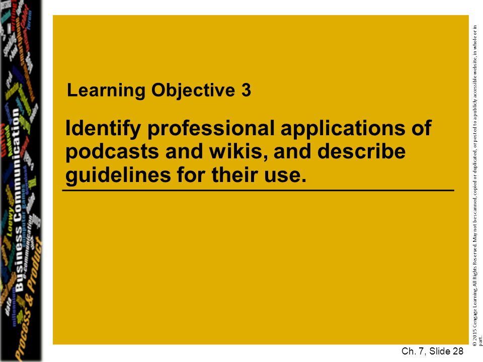 Learning Objective 3 © 2015 Cengage Learning.All Rights Reserved.