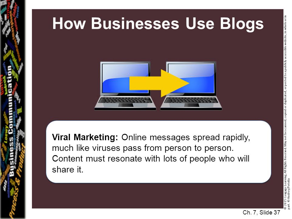 How Businesses Use Blogs Viral Marketing: Online messages spread rapidly, much like viruses pass from person to person.