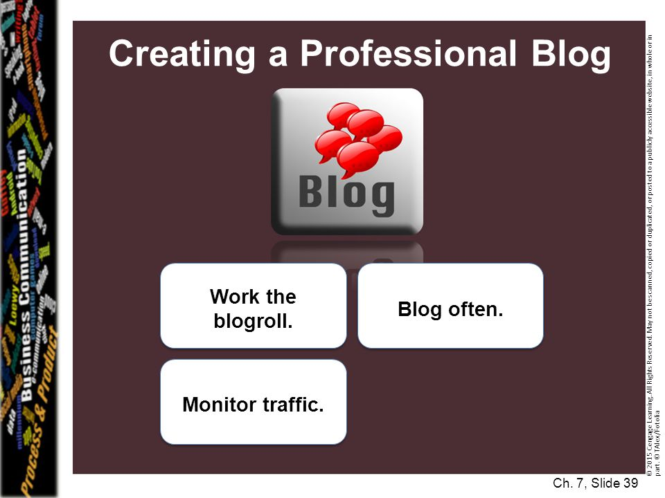 Creating a Professional Blog Monitor traffic.Work the blogroll.