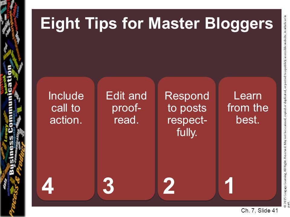 Eight Tips for Master Bloggers Include call to action.