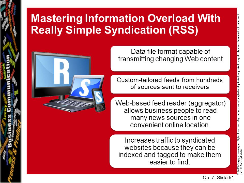 Mastering Information Overload With Really Simple Syndication (RSS) © 2015 Cengage Learning.