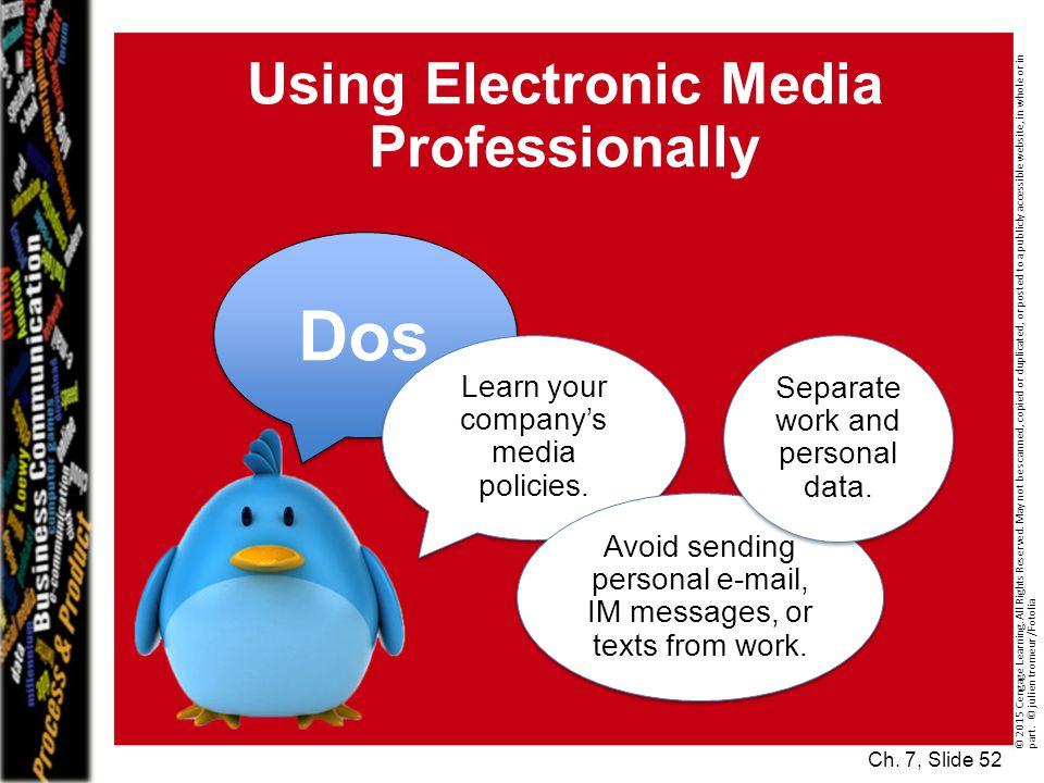 Using Electronic Media Professionally © 2015 Cengage Learning.