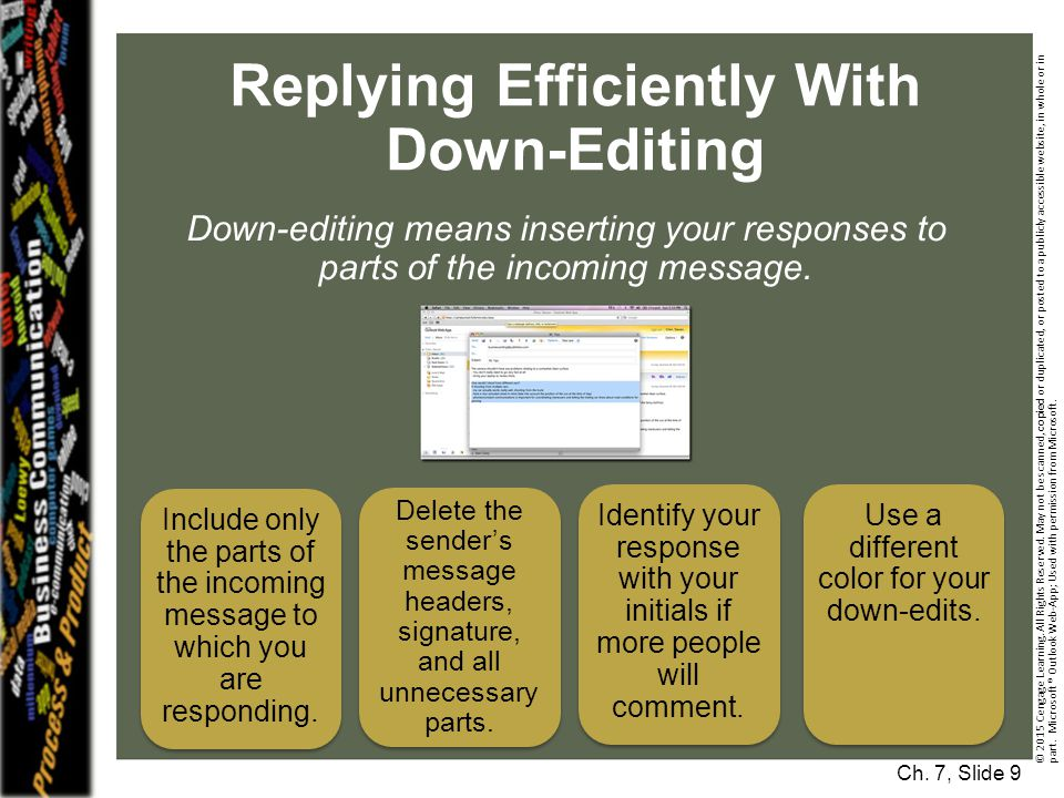 Replying Efficiently With Down-Editing Ch.7, Slide 9 © 2015 Cengage Learning.