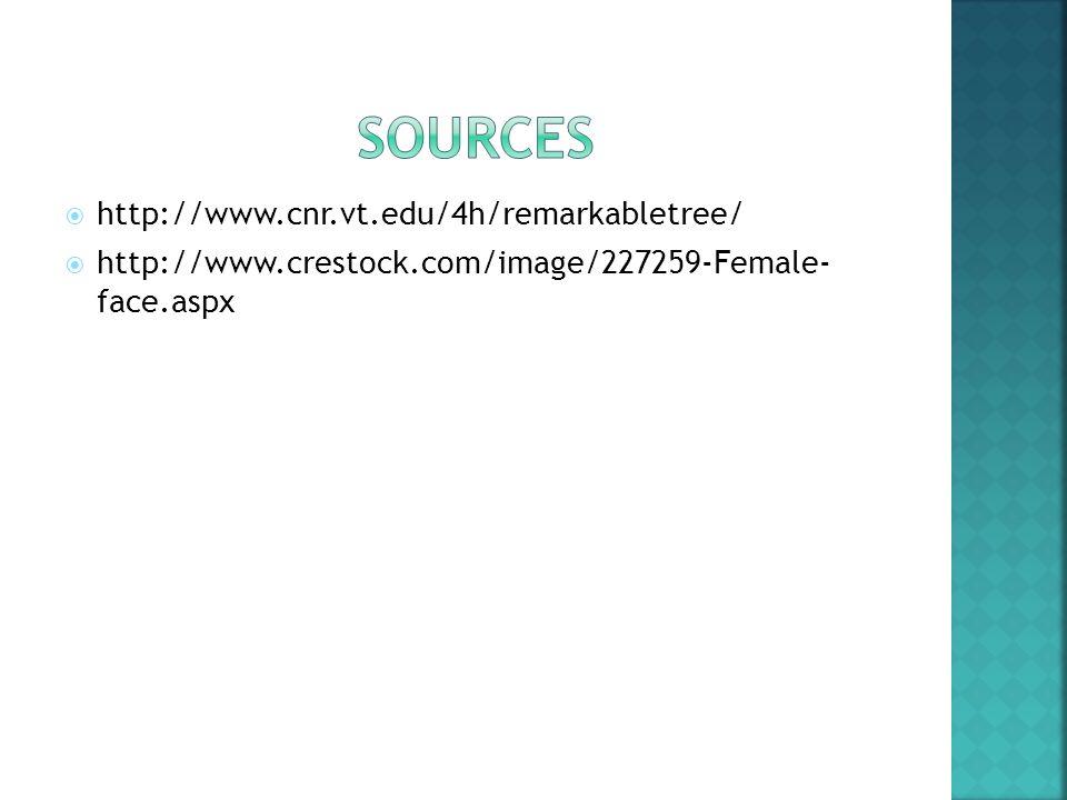  http://www.cnr.vt.edu/4h/remarkabletree/  http://www.crestock.com/image/227259-Female- face.aspx