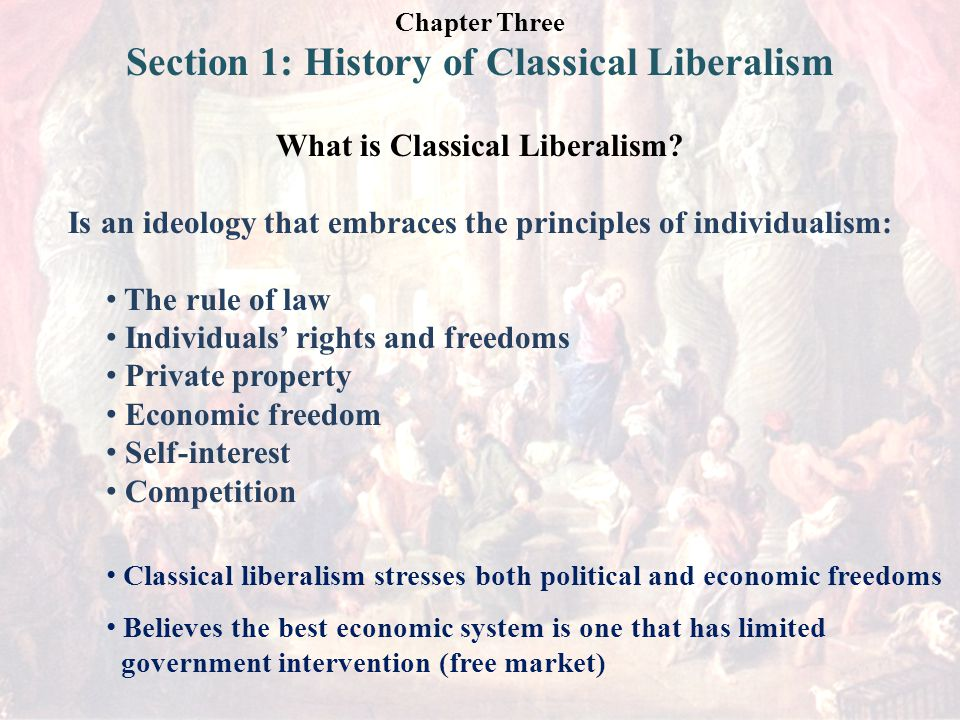 Chapter Three Section 1: History of Classical Liberalism What is Classical Liberalism.