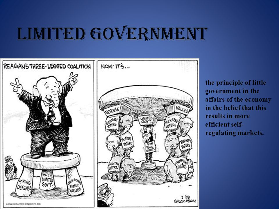 LIMITED GOVERNMENT the principle of little government in the affairs of the economy in the belief that this results in more efficient self- regulating markets.