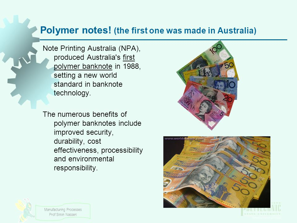 Manufacturing Processes Prof Simin Nasseri Polymer notes.