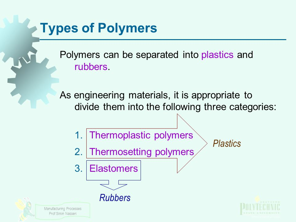 Manufacturing Processes Prof Simin Nasseri Thermoplastic Polymers - Thermoplastics Solid materials at room temperature but viscous liquids when heated to temperatures of only a few hundred degrees About 70% of the tonnage of all synthetic polymers produced This characteristic allows them to be easily and economically shaped into products They can be subjected to heating and cooling cycles repeatedly without significant degradation Symbolized by TP