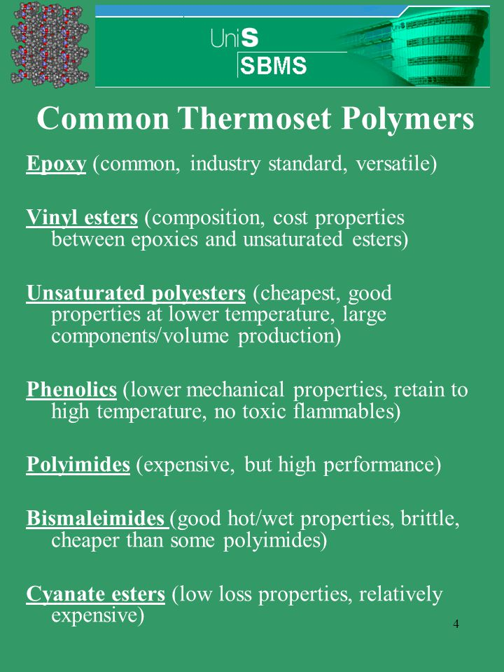 4 Common Thermoset Polymers Epoxy (common, industry standard, versatile) Vinyl esters (composition, cost properties between epoxies and unsaturated es