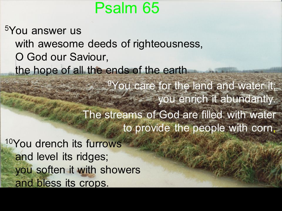Psalm 65 5 You answer us with awesome deeds of righteousness, O God our Saviour, the hope of all the ends of the earth 9 You care for the land and wat