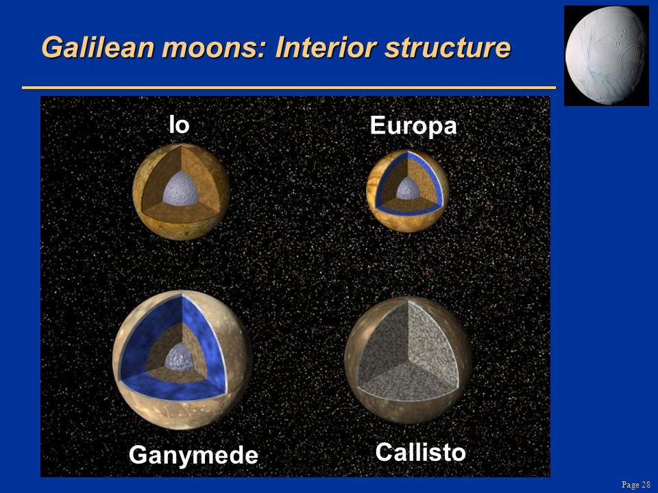 Page 28 Galilean moons: Interior structure Io Callisto Europa Ganymede