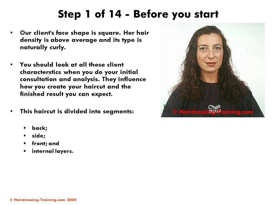 © Hairdressing-Training.com 2004 Step 1 of 14 - Before you start Our client's face shape is square. Her hair density is above average and its type is