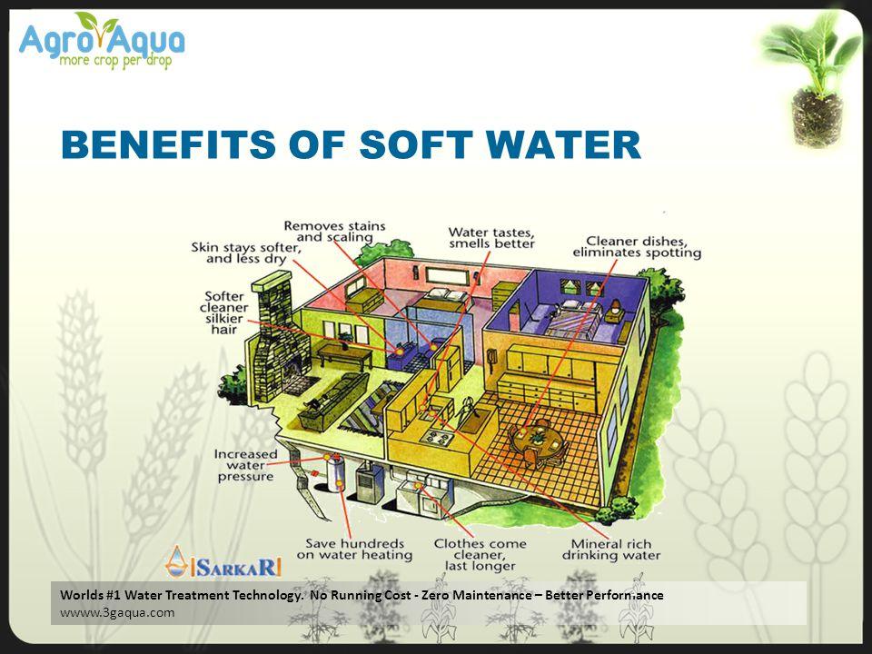 Worlds #1 Water Treatment Technology. No Running Cost - Zero Maintenance – Better Performance wwww.3gaqua.com BENEFITS OF SOFT WATER