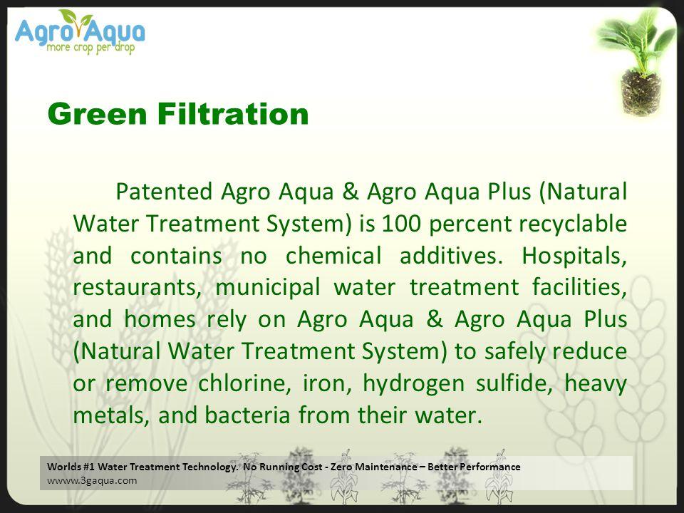Worlds #1 Water Treatment Technology. No Running Cost - Zero Maintenance – Better Performance wwww.3gaqua.com Green Filtration Patented Agro Aqua & Ag