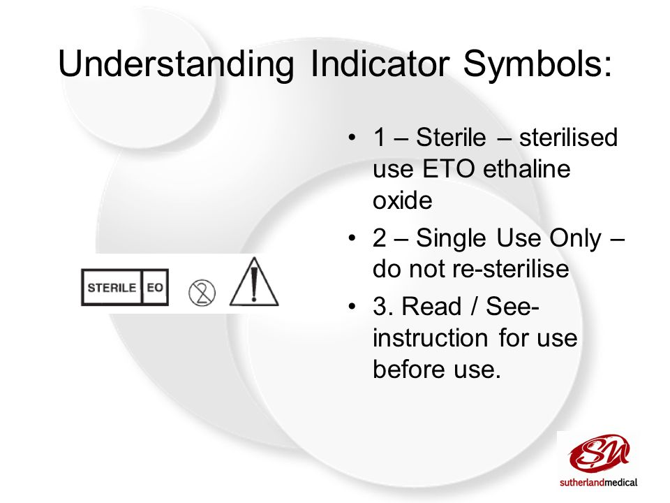 Understanding Indicator Symbols: 1 – Sterile – sterilised use ETO ethaline oxide 2 – Single Use Only – do not re-sterilise 3.