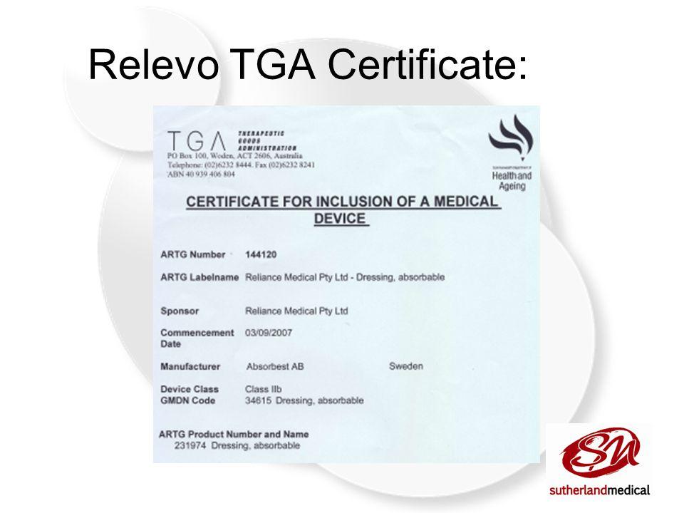 Relevo TGA Certificate: