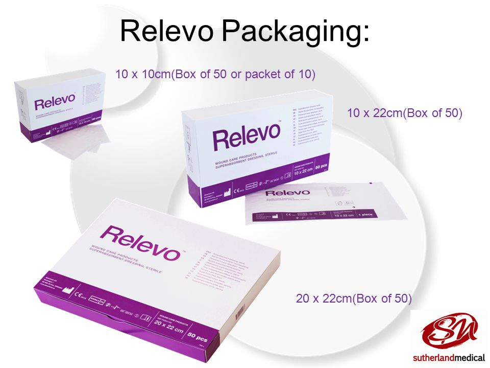 Relevo Packaging: 10 x 10cm(Box of 50 or packet of 10) 10 x 22cm(Box of 50) 20 x 22cm(Box of 50)