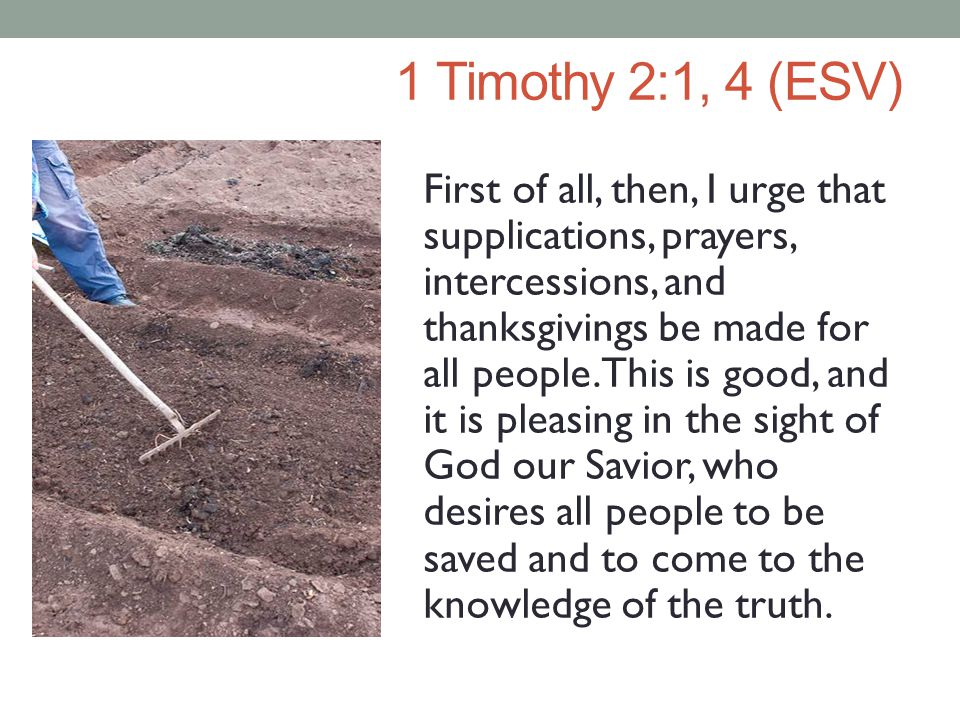 1 Timothy 2:1, 4 (ESV) First of all, then, I urge that supplications, prayers, intercessions, and thanksgivings be made for all people.
