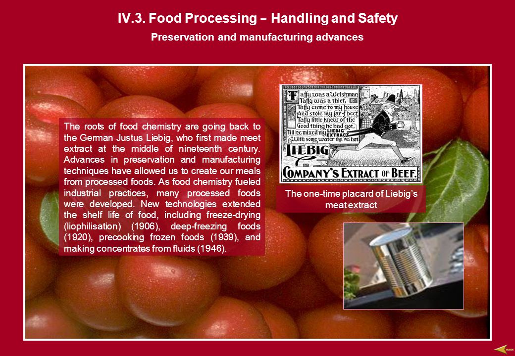 IV.3. Food Processing - Handling and Safety The roots of food chemistry are going back to the German Justus Liebig, who first made meet extract at the