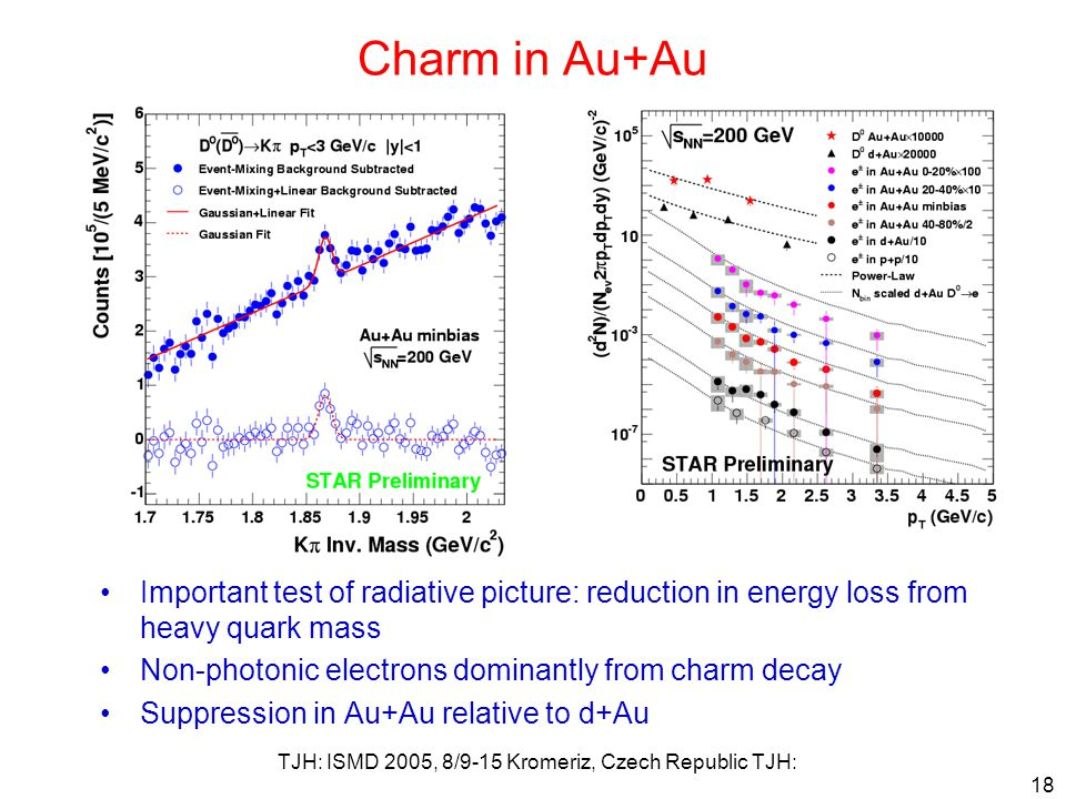 TJH: ISMD 2005, 8/9-15 Kromeriz, Czech Republic TJH: 18 Charm in Au+Au Important test of radiative picture: reduction in energy loss from heavy quark mass Non-photonic electrons dominantly from charm decay Suppression in Au+Au relative to d+Au
