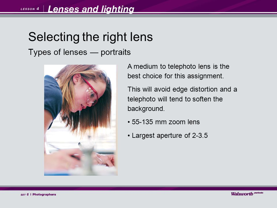 Types of lenses — portraits A medium to telephoto lens is the best choice for this assignment.