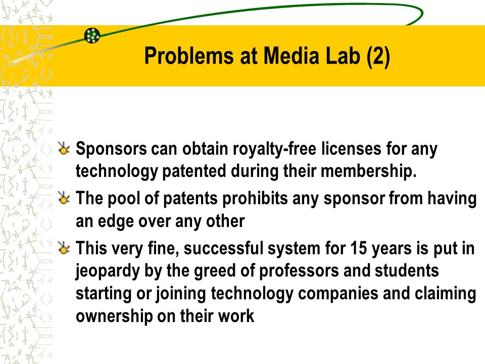 Problems at Media Lab (2) Sponsors can obtain royalty-free licenses for any technology patented during their membership.