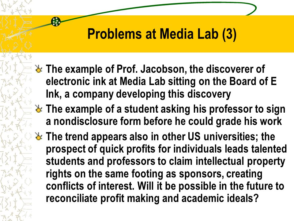 Problems at Media Lab (3) The example of Prof.