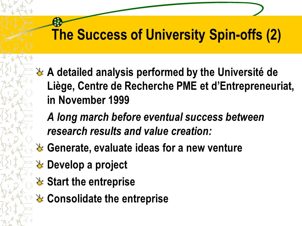 The Success of University Spin-offs (2) A detailed analysis performed by the Université de Liège, Centre de Recherche PME et d'Entrepreneuriat, in November 1999 A long march before eventual success between research results and value creation: Generate, evaluate ideas for a new venture Develop a project Start the entreprise Consolidate the entreprise