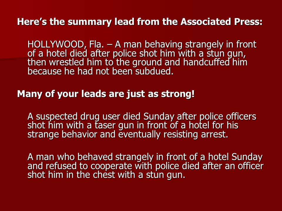 Here's the summary lead from the Associated Press: HOLLYWOOD, Fla.
