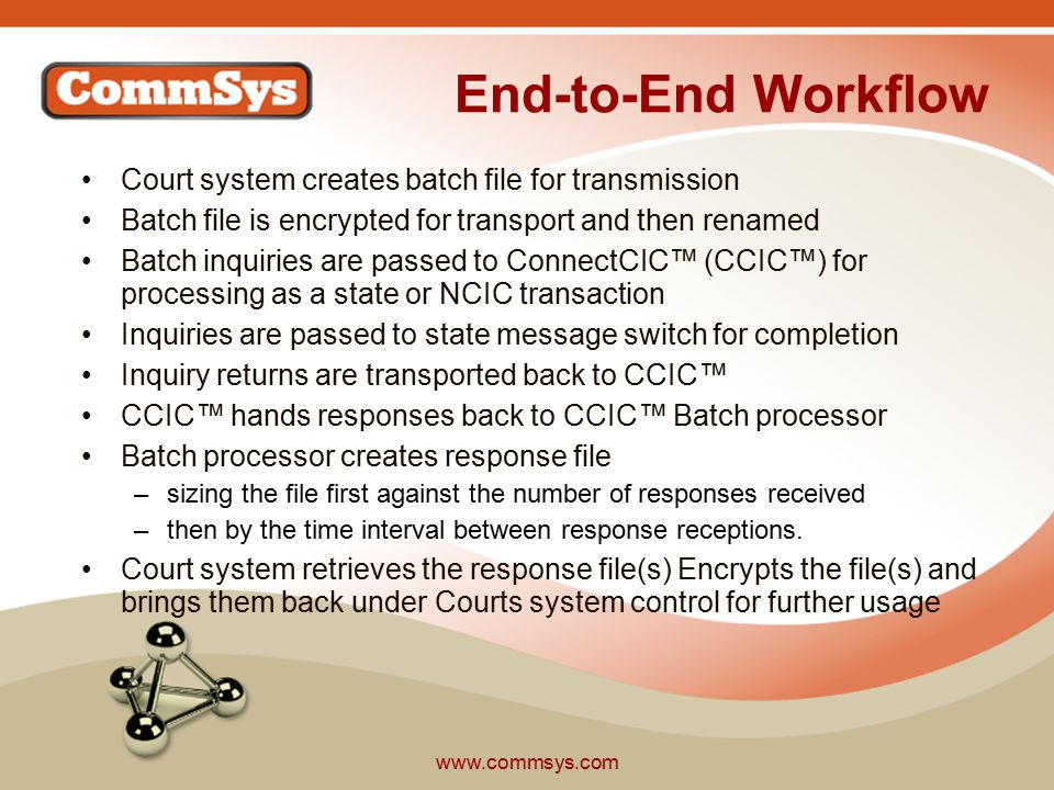 www.commsys.com End-to-End Workflow Court system creates batch file for transmission Batch file is encrypted for transport and then renamed Batch inquiries are passed to ConnectCIC™ (CCIC™) for processing as a state or NCIC transaction Inquiries are passed to state message switch for completion Inquiry returns are transported back to CCIC™ CCIC™ hands responses back to CCIC™ Batch processor Batch processor creates response file –sizing the file first against the number of responses received –then by the time interval between response receptions.